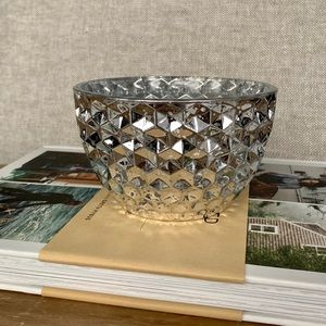 Metallic Silver Decorative Glass Bowl
